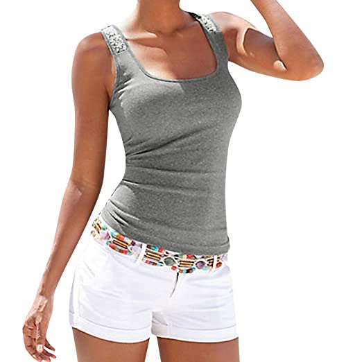 Top de Mujer con Costuras de Lentejuelas,riou Camiseta Básica para Mujer con Sujetador Incorporado para IR a Gimnasio Fitness Deportes Yoga Tanque Tops ...