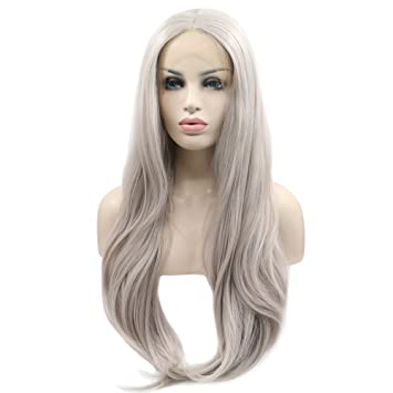 eNilecor Silver Platinum Blonde Lace Front Wig Long Natural Wavy Middle  Part Synthetic Replacement Hair Grey a16e10645cf5