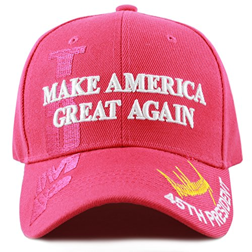 THE HAT DEPOT Exclusive 45th President Trump Make America Great Again 3D Cap (Hot Pink)