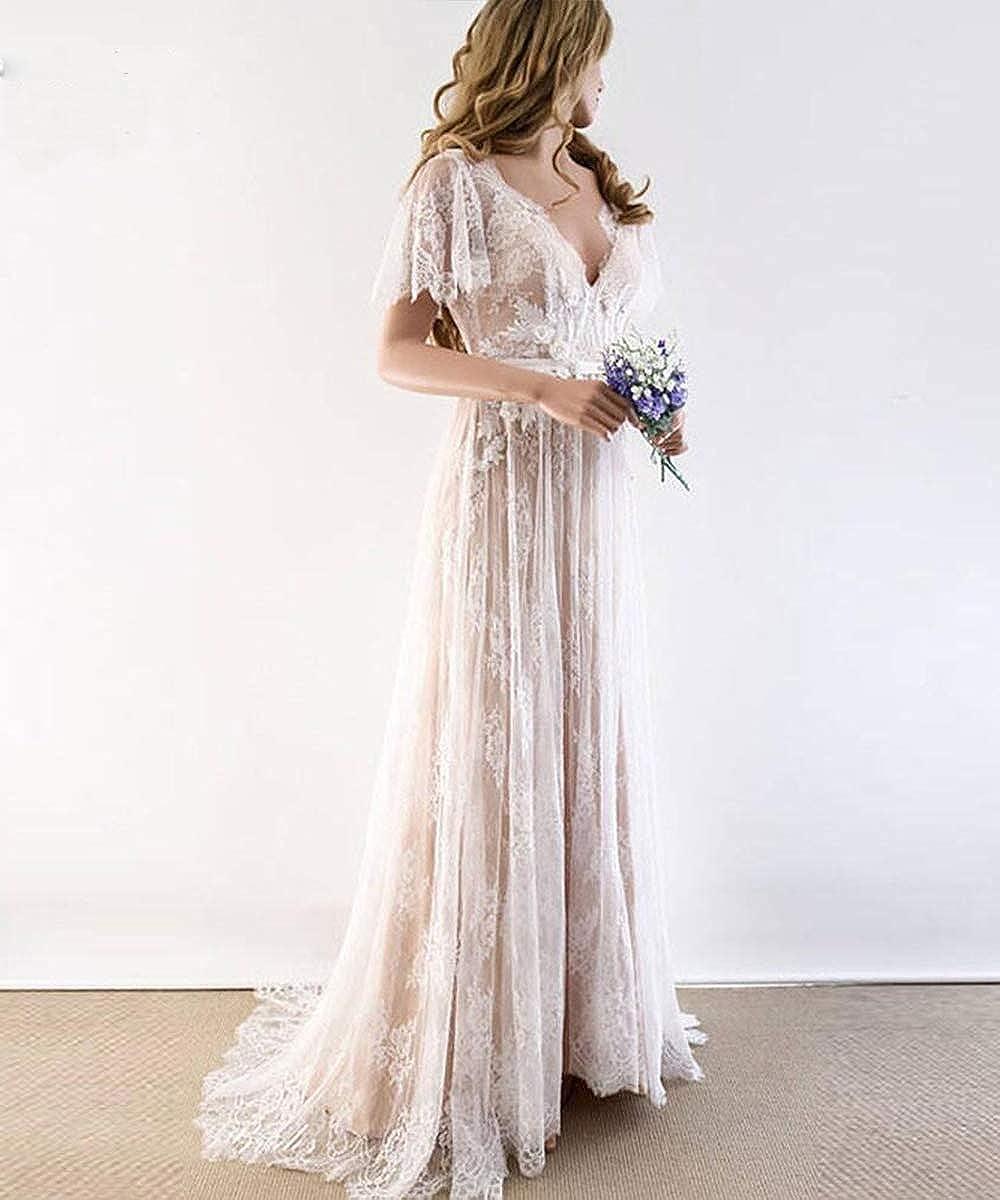 Amazon Com Modeldress Boho Wedding Dresses For Bride 2020 Double V Neck Short Sleeves Lace Bridal Gowns Clothing