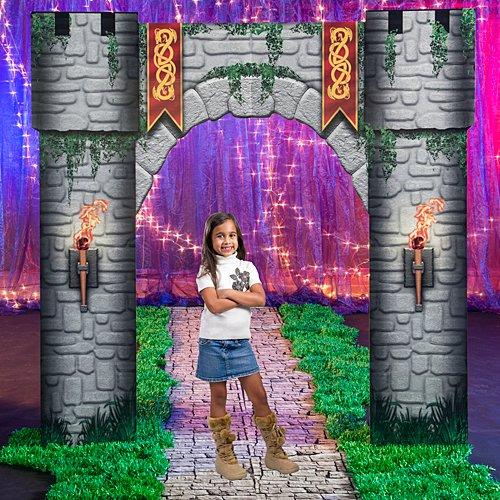 Fantasy Knights Castle Kingdom Fairytale Entrance Standup Photo Booth Prop Background Backdrop Party Decoration Decor Scene Setter Cardboard -