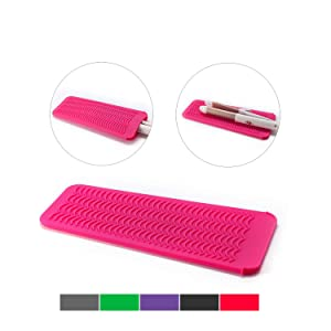 ZAXOP Resistant Silicone Mat Pouch for Flat Iron, Curling Iron,Hot Hair Tools(Hot Pink)
