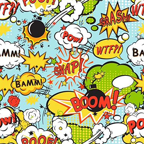 CSFOTO 8x8ft Background For Superhero Crack Photography Backdrop Birthday Party Smack Poof Interjection Fright Bomb Startle Stage Performance Children Portrait Photo Studio Props Vinyl Wallpaper (Photo 8' Digital Album)