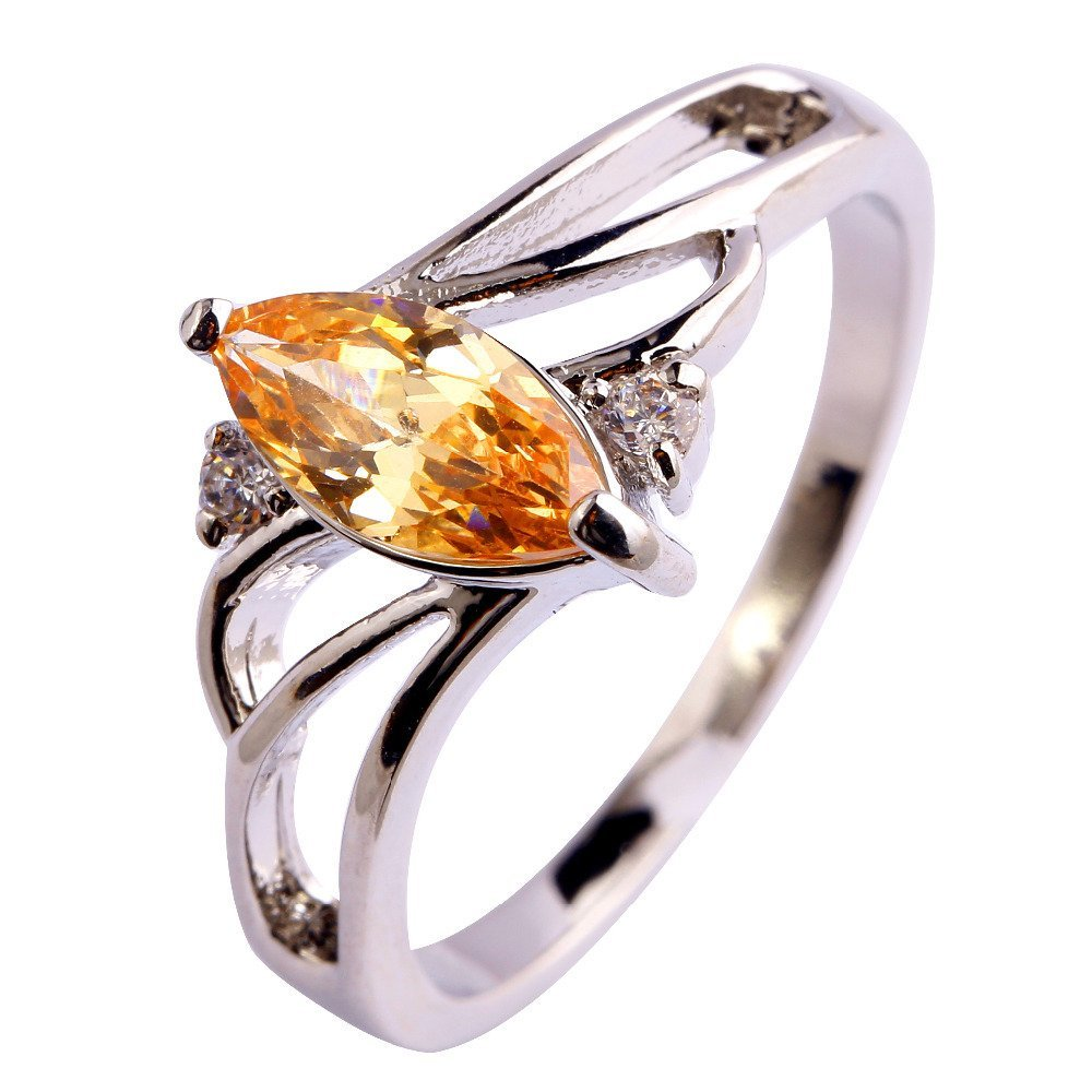 FT-Ring Fashion Engagement Champagne Orange Jewelry Ring For Women Wedding Bridal Rings