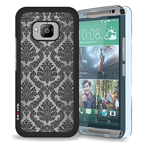 HTC One M9 / One Hima Case, ToPerk (TM) Imperial Lace Ultra Slim Hybrid Case + Free HD Screen Protector & Stylus Pen As Bundle Sale - Black