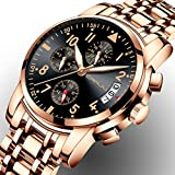 Mens Watches Chronograph Watch Men Sports Watches Waterproof 30M Full Steel Quartz Men's Rose Gold Black Watch
