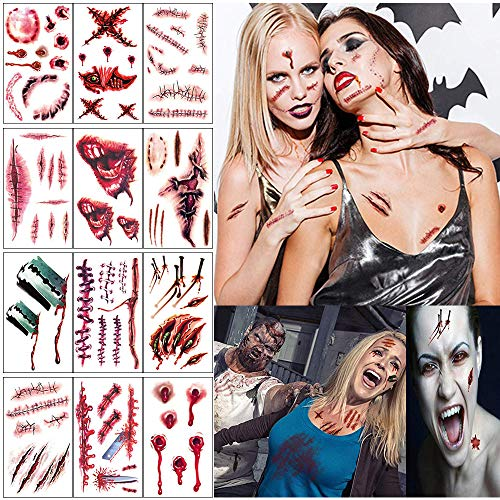 Zombie Makeup Halloween Tattoos, Zombie Scar Tattoos, Halloween Zombie Makeup Kit, Vampire  Makeup Bite Tattoo, Fake Scab Blood Scars Cuts Tattoo, Healthy Makeup for Kids, Halloween Party Favors Decorations(12 Sheets)