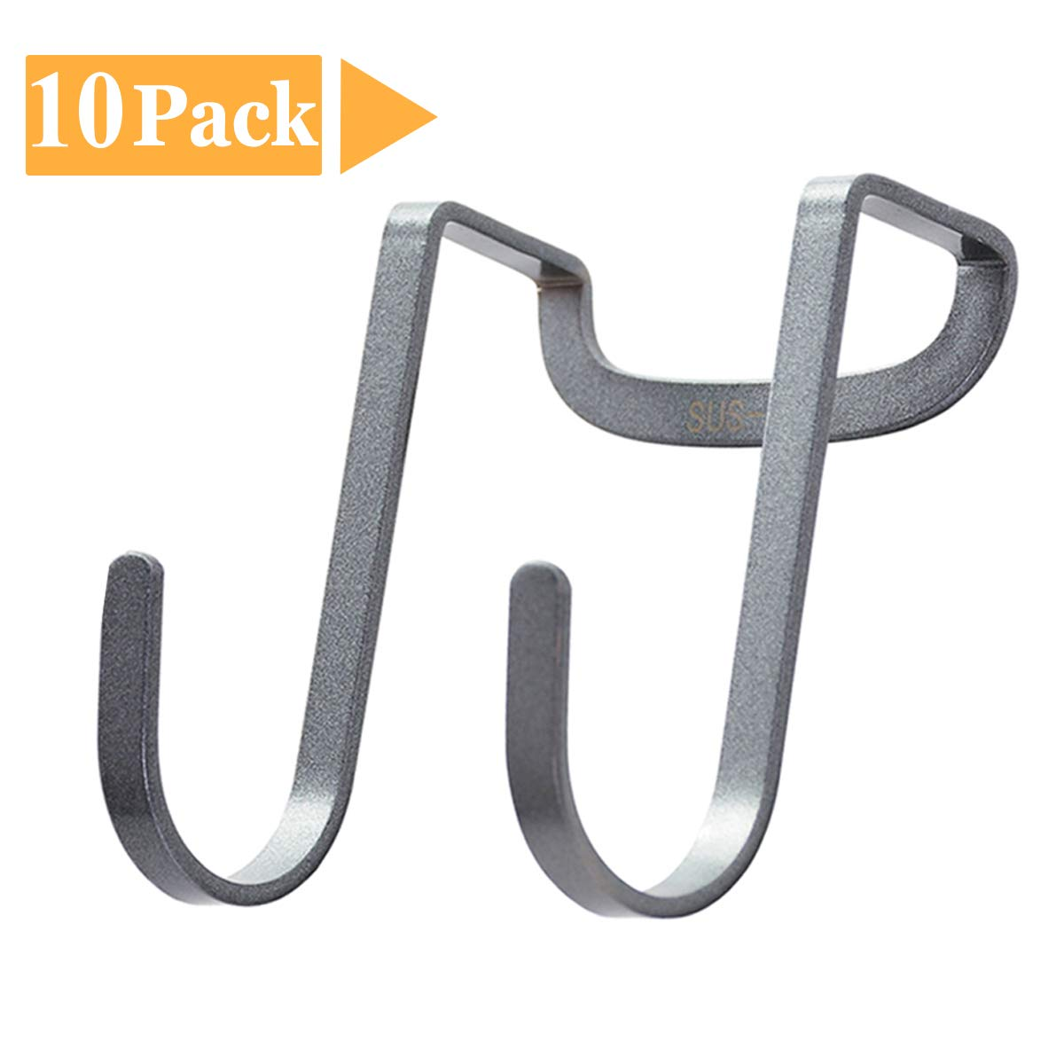FLE Double S Hooks Over Cabinet Door Hook Stainless Steel Multipurpose S Hook Over The Door Hook Use for Kitchen, Cabinet, Drawer, Bathroom, Wardrobe, Office, 10-Pack