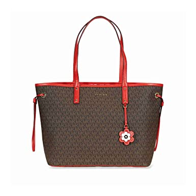 f4597cf5bc13 Amazon.com: Michael Michael Kors Carter Canvas Large Reversible Tote Handbag  in Brown Begonia: Clothing