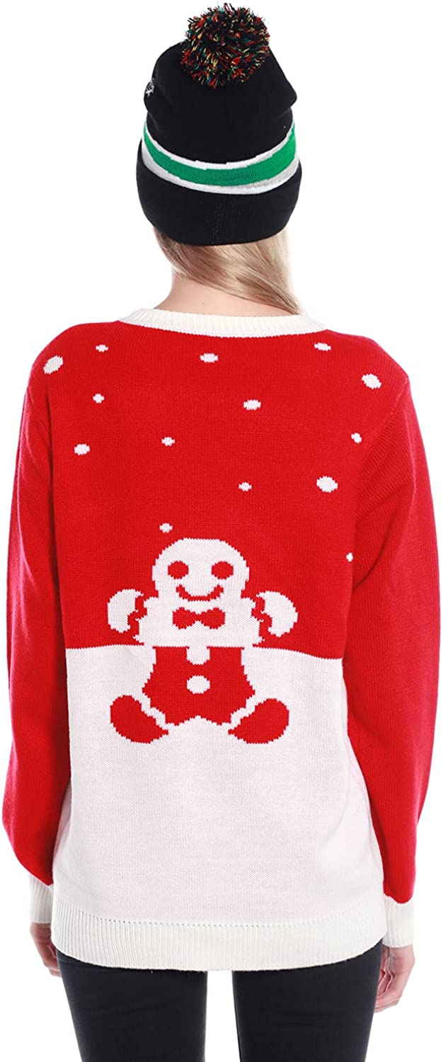 Light Up Womens Christmas Sweater 3D Gingerbread Man Cat Ugly Sweater Knit Holiday Funny Sweatshirt