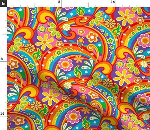 1960s Fabric - Paisley Colorful Rainbow Daisy Peace 1960S Psychedelic Flower Power Flowers Colorful Rainbows by Mia Valdez Printed on Petal Signature Cotton Fabric by The Yard