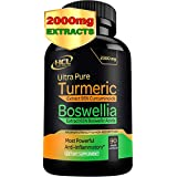 Turmeric Boswellia Extract Supplement – Strong Natural Pain Relief & Joint Support Pills 2000 mg – Extra Strength Anti-Inflam