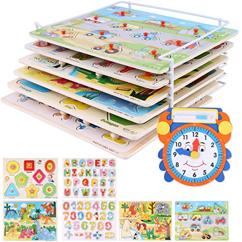Wooden Puzzles and Rack Set - (6 Pack) Bundle with Storage Holder Rack and Learning Clock - Kids Educational Preeschool Peg Puzzles for Children Babies Boys Girls - Alphabet Numbers Zoo Cars Sha