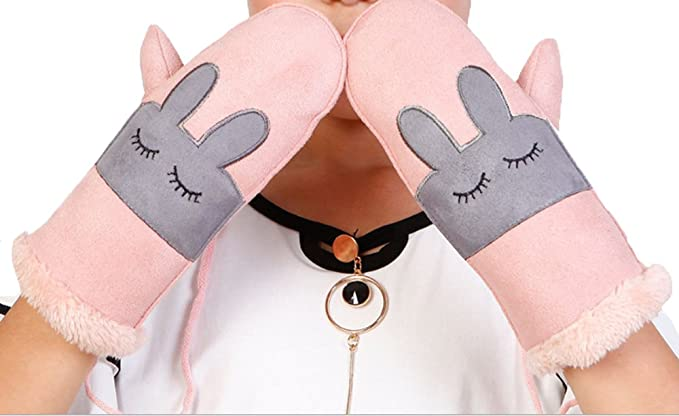 Pink Bunny Pink Cute Winter Cartoon Gloves Winter Thick Warm Gloves Mittens With String Girls Gloves