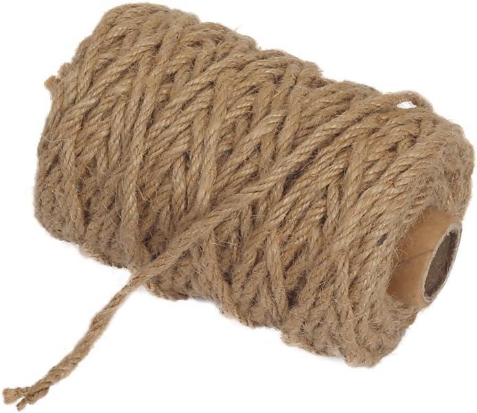 Vivifying 98 pies 4 mm 4 capas yute Twine, naturales biodegradable fuerte yute Cuerda para jardín, regalos, manualidades (marrón)