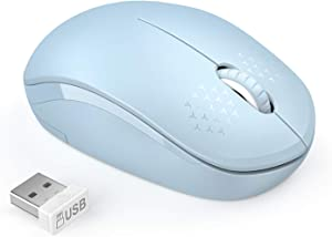 seenda Wireless Mouse, 2.4G Noiseless Mouse with USB Receiver Portable Computer Mice for PC, Tablet, Laptop with Windows System (Light Blue)