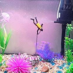 Clearance Sale!DEESEE(TM)Fish Tank Ornament Hunter Diver Treasure Figure Action Aquarium Decor Landscape (Black)