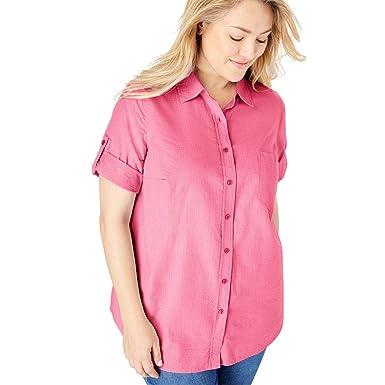 03b950297d2ec Woman Within Women s Plus Size Short Sleeve Button Down Seersucker Shirt -  Bright Pink