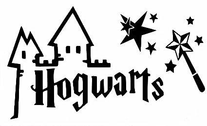 Pegatina Para Pared De Harry Potter Hogwarts Con Varita Y Estrellas Película Libro Vinil Decorativo Calcomanía