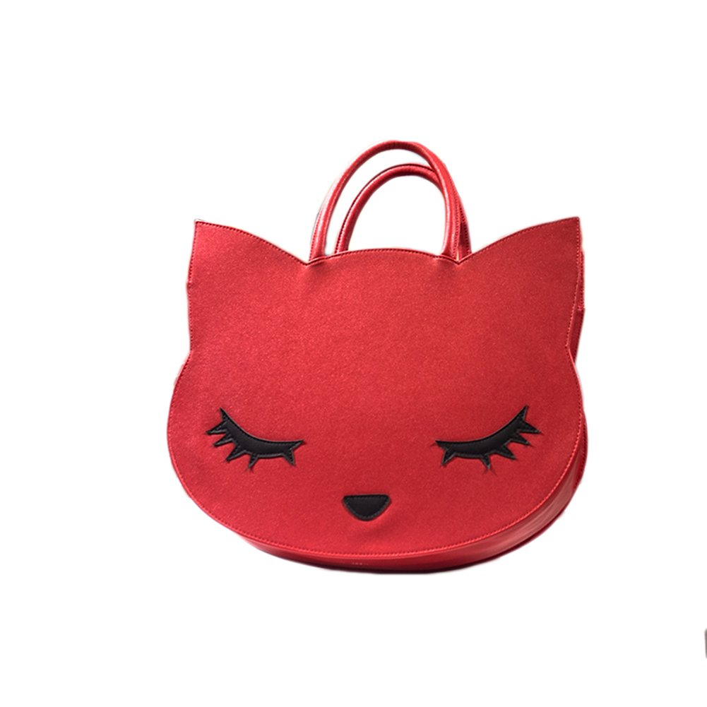 XMLiZhiGu Women's Girls Cute Animal Casual Tote Bag Cartoon Fashion Cat Handbag Red