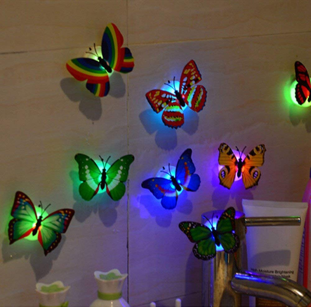 Gemini_mall 3D DIY LED Butterfly, 10 Pieces Kids Bedroom Fairy Flashing Colorful Adhesive Glowing Lights Home Decoration Party Favours Toys Christmas Stocking Fillers (10pcs) Gemini_malll