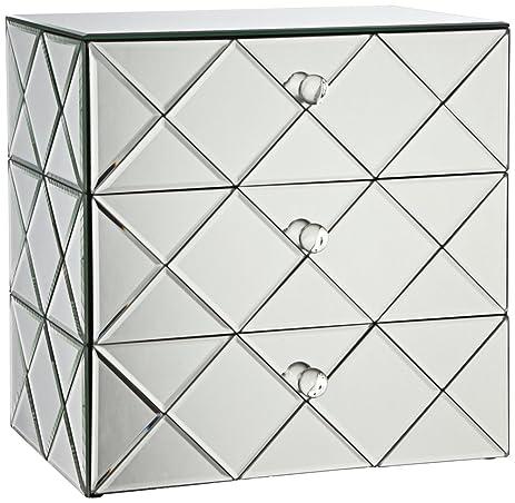Amazoncom Newry 3Drawer Silver Mirrored Jewelry Box Home Kitchen