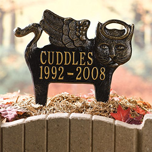 Personalized Angel Pet Memorial Grave Marker - Custom Aluminum Outdoor Stake For Cat (Angel Tombstone)