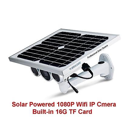 Visión Nocturna Cámara de Vigilancia de Energía Solar Batería Incorporada P2P Onvif WiFi Inalámbrico Cámara Solar