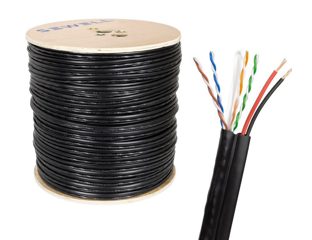 SolidRun by Sewell Cat6 +Power Siamese Cable,1000 ft., CM, Black CCA