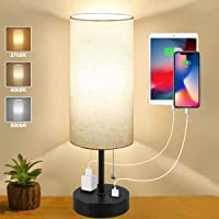 Table Lamp, Bedside Table Lamp with USB Port and Outlet, Small Nightstand Lamp for Bedroom, 3 Color Modes Pull Chain…