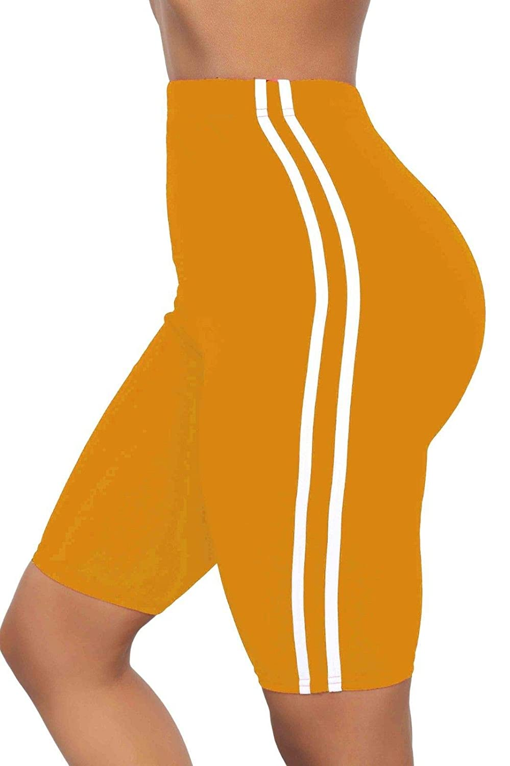 The Celebrity Fashion Womens Active Gym Side Stripe Cycling Over-Knee Shorts Tights Biker Hot Pants