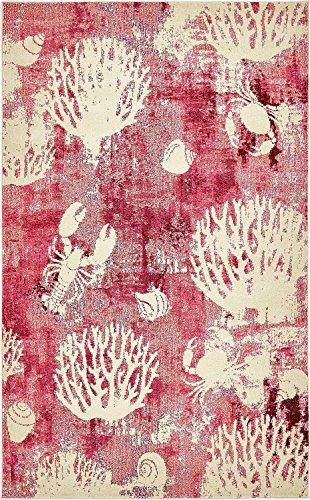 (Unique Loom Positano Collection Coastal Modern Coral Lobster Shells Pink Area Rug (5' x 8'))