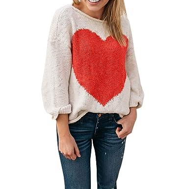 Longra Damen Rundhals Pullover Strickpullover Jumper Pullover T-Shirt Tops  Herz Liebes Form Strickpulli Sweater Stricksweater Stricksweatshirt Strick  ... 5264693bb7