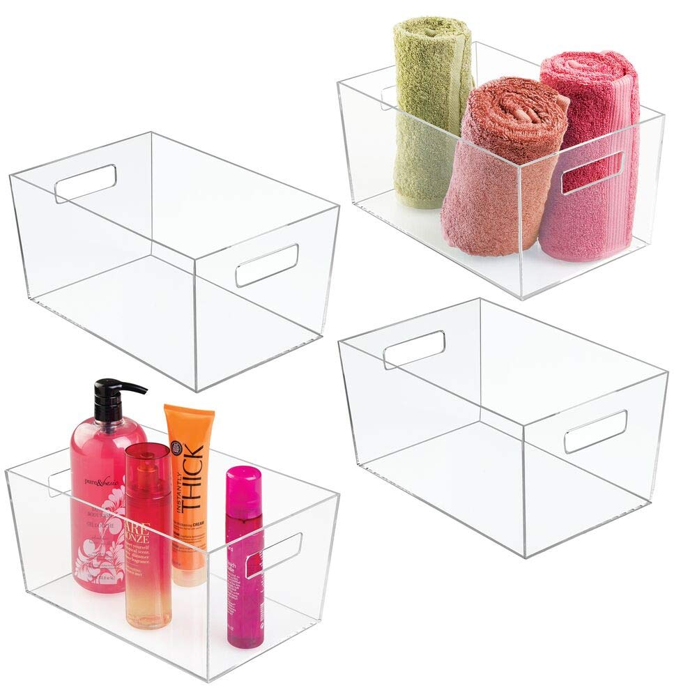mDesign Plastic Bathroom Organizer Storage Bin with Handles for Organizing Hand Soaps, Body Wash, Shampoos, Conditioners, Hand Towels, Hair Accessories, Body Spray, Mouthwash - Large, 4 Pack - Clear