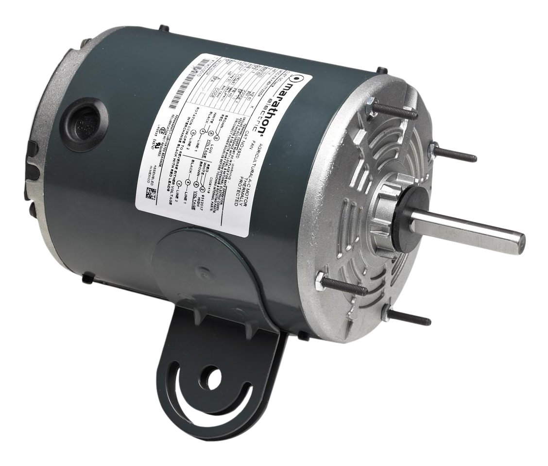 Marathon X923 48Y Frame Totally Enclosed 48A11T2024 Pedestal Fan Motor 1/4 hp, 1075 RPM, 115 VAC, 1 Phase, 2 Speeds, Ball Bearing, Permanent Split Capacitor, Yoke