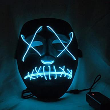 Amazon.com: Qiancheng Halloween Scary LED Mask Costume El Wire for ...