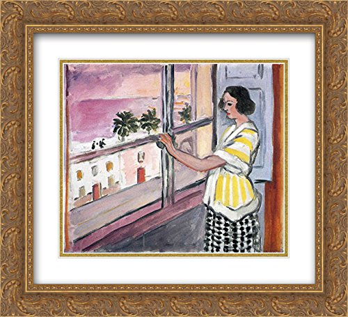 Henri Matisse 2x Matted 22x20 Gold Ornate Framed Art Print 'Young Woman at the Window, - Galleria At Sunset The