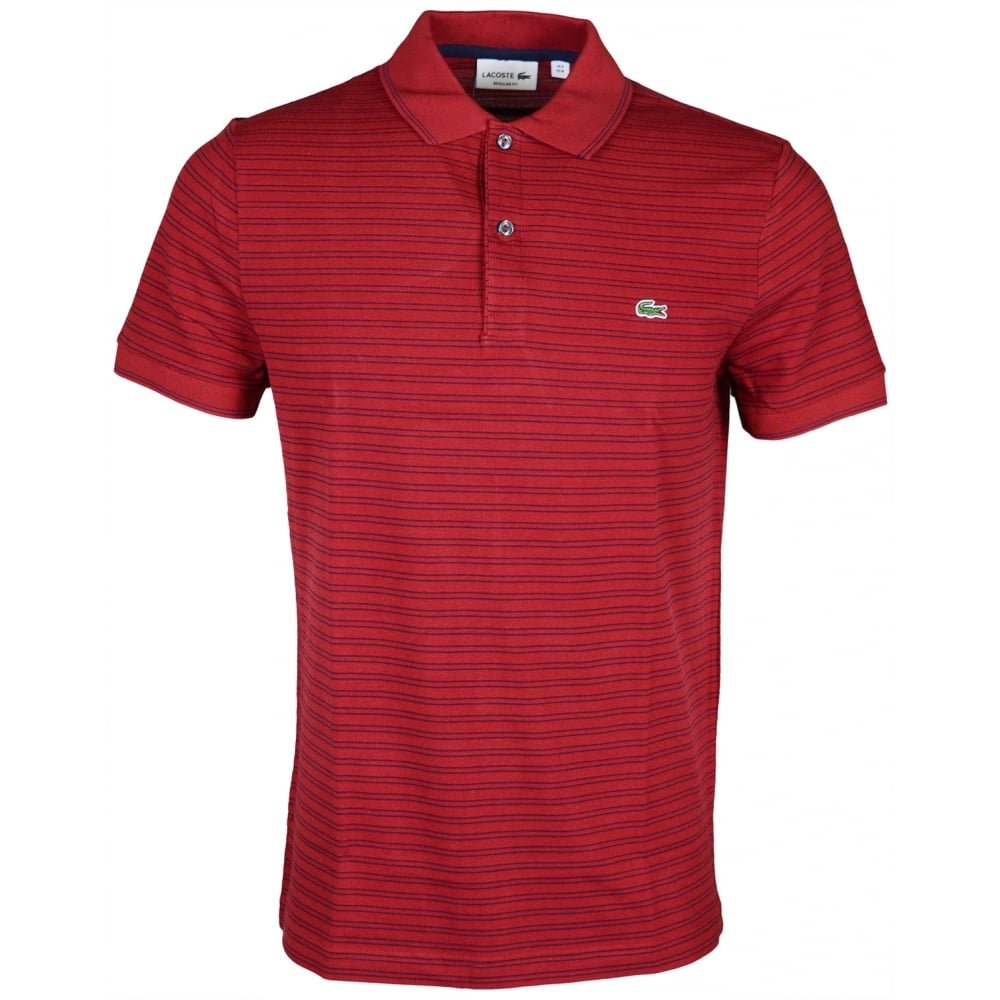 Lacoste Ph9099 Regular Fit Passion Red Stripe Polo At Amazon Mens
