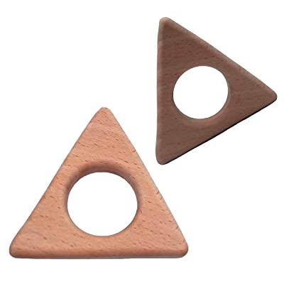 Alenybeby 2pcs Baby Teether Triangle Baby DIY Jewelry Pendants Necklace Bracelets Accessories BPA Free Pacifier Wooden Triangular Teether (Triangle 2pcs): Toys & Games