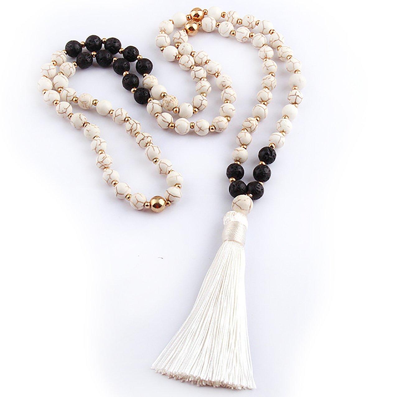 M& B White Black Lavastone Beaded Boho Mala Chakra Necklace 8mm Natural Stone Beads Meditation Yoga