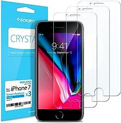 【Spigen】 スマホフィルム iPhone8/iPhone7 対応 液晶保護 3枚入 3DTouch 保護フィルム 042FL20421 (クリスタル・クリア)