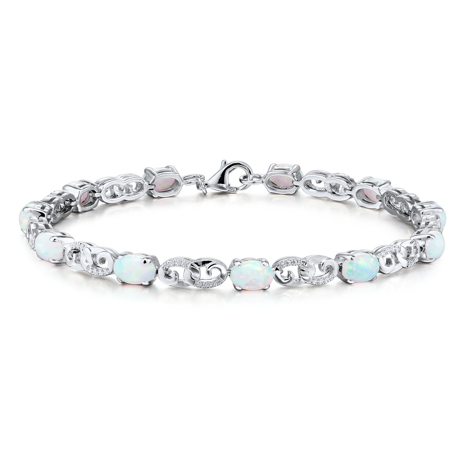 Created Opal Bracelet Rhodium Plated Sterling Silver - 7 Inches