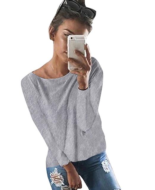 2c95f58bd21a8 Minetom Mujeres Camiseta con Manga Larga Escotado por Detrás Camisa Blusa  T-Shirt Blouses Pullover Sudadera  Amazon.es  Ropa y accesorios