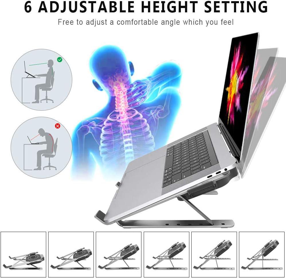 5 angles r/églables Plaque m/étallique 2 ports USB Applicable /à un ordinateur portable de 12-17 pouces Tendak Support de refroidissement pour ordinateur portable Avec deux ventilateurs turbo