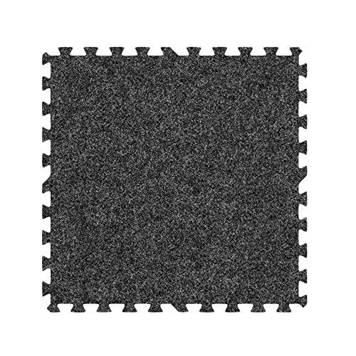 Alessco EVA Foam Rubber Interlocking Premium Soft Carpets 12' x 12' Set Dark Grey