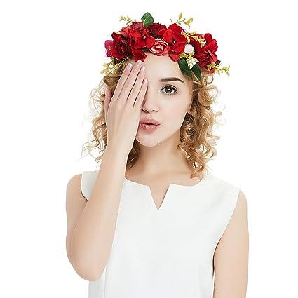 OKBO Diadema de flor guirnalda Floral corona guirnalda para fiesta de boda Featival, Venda de