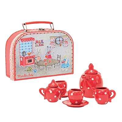 Moulin Roty Red Ceramic Tea Set: Toys & Games