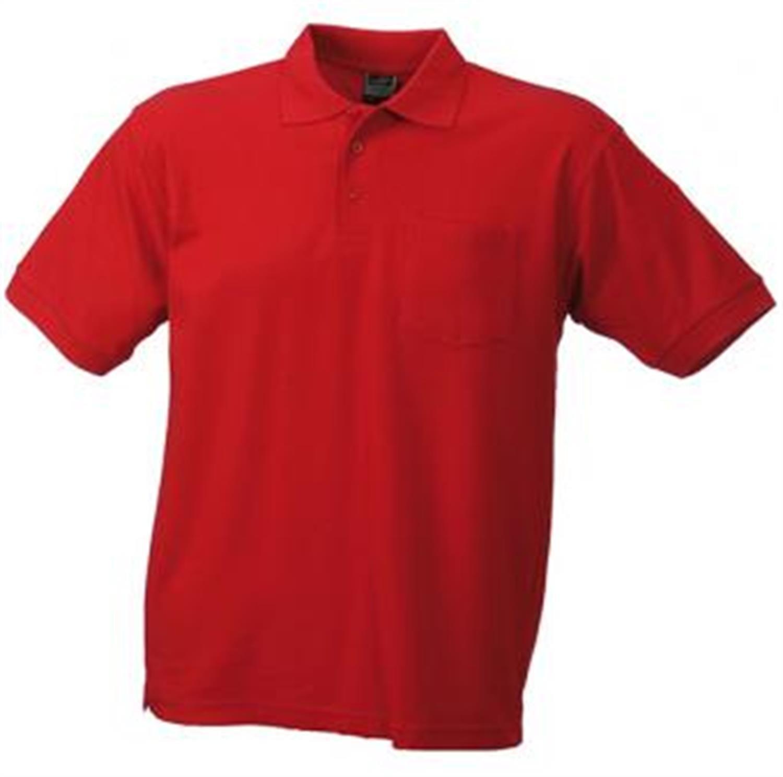 Hochwertiges feinstrukturiertes Herren Piqué-Polohemd mit Brusttasche in den Größen S-3XL Farbe Red Größe M