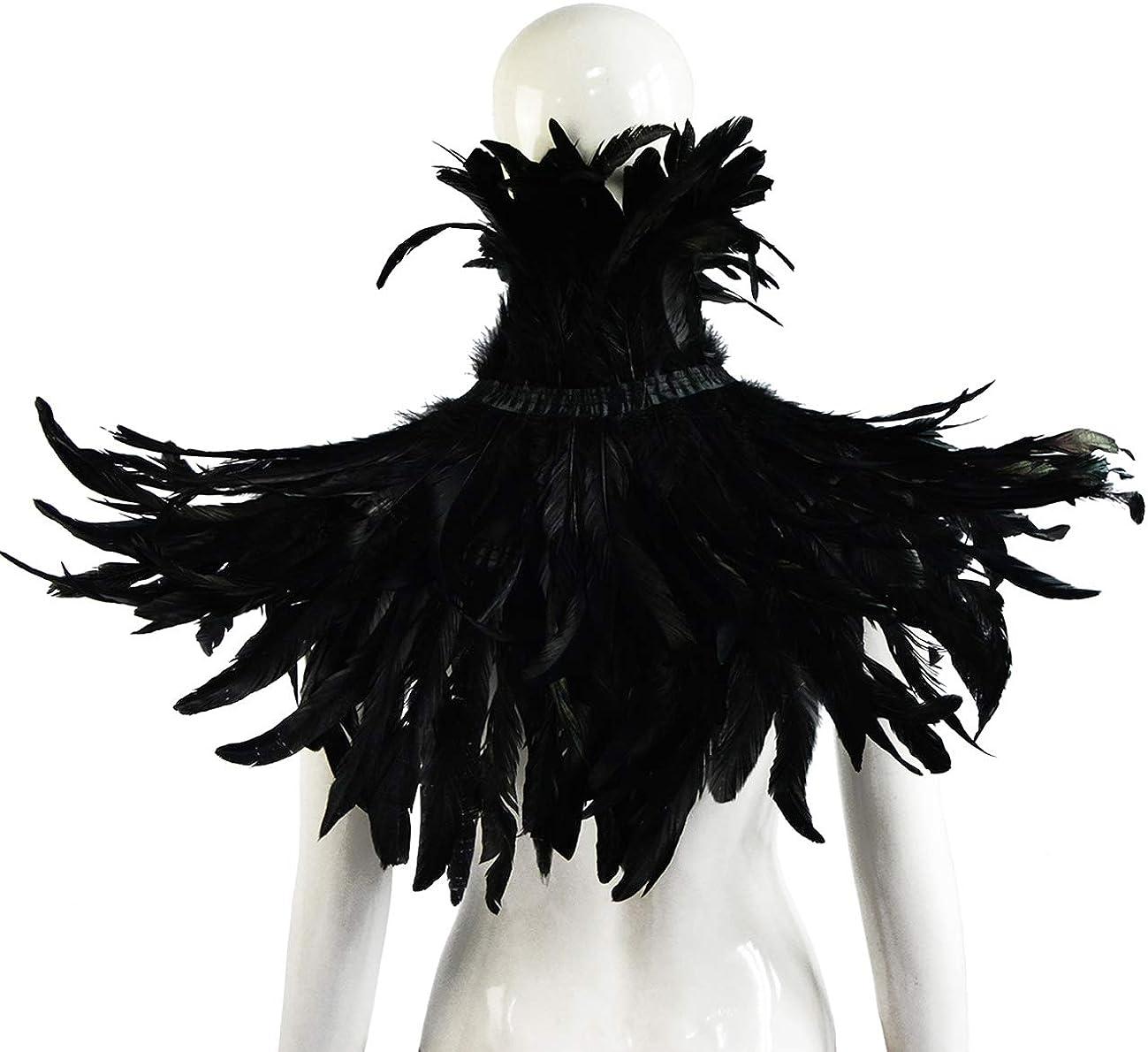 sigando Cape ch/âle avec plumes naturelles noir gothique avec collier