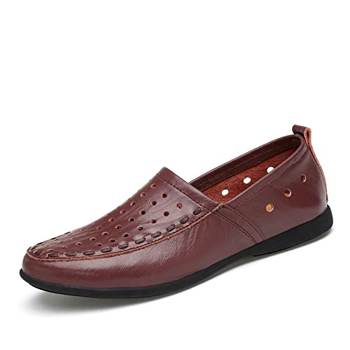 Mocasines de Cuero Genuino de los Hombres Slip on Suede Plantilla Loafer (Color : Dark